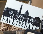 Vintage Skyline Postcard Save the Date (Washington DC) - Design Fee