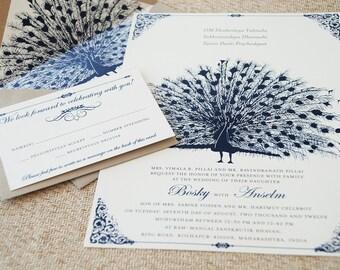 Custom illustration flat card wedding invitation moorings vintage cobalt blue peacock wedding invitation design fee stopboris Images