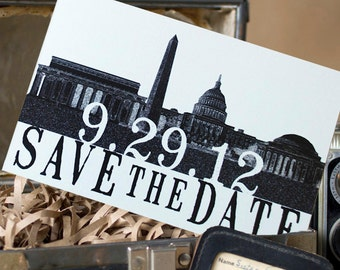 Vintage Skyline Postcard Save the Date (Washington DC) - Design Fee