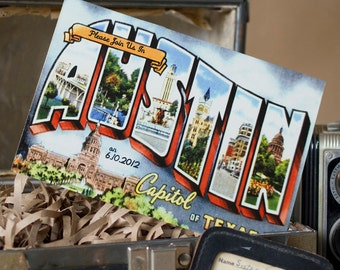 Vintage Large Letter Postcard Save the Date (Austin, Texas) - Design Fee