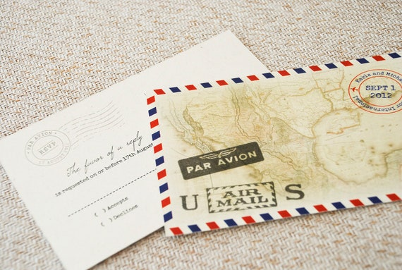 Vintage Air Mail Destination Wedding Invitation Mexico