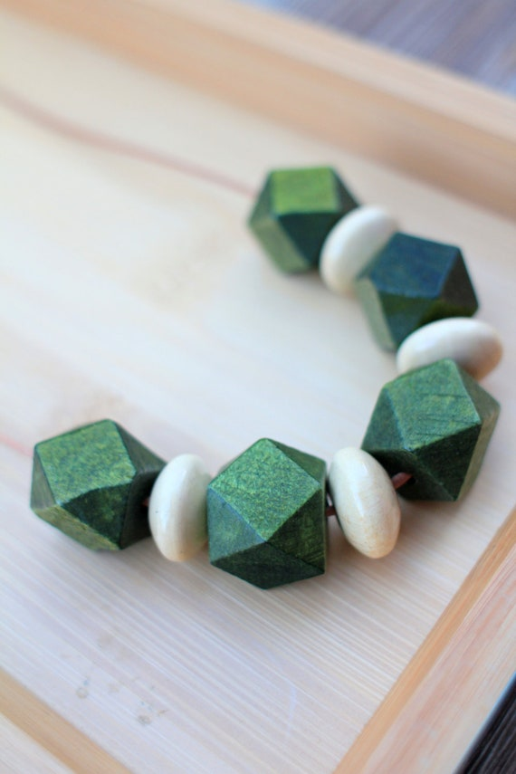 NECKLACE Geometric Wood Beads in Beige and Green strung on Natural Suede Leather Cord