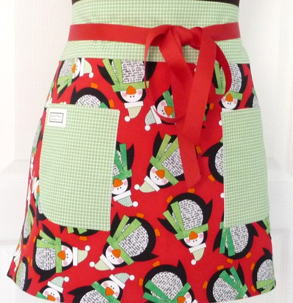 Apron, Penquins, Merry Christmas, Xmas, Half Apron, Chef, Hostess, Party, Kitchen, Teacher Apron, Red with Green Plaid, Christmas apron