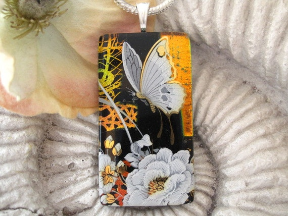 Butterfly Necklace - Dichroic Glass Pendant  - Fused Dichroic Glass Jewelry - Monarch Butterfly - Pendant & Necklace 063012p105