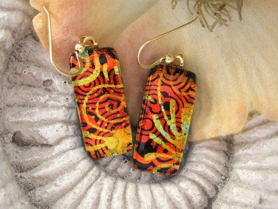 Red  Earrings - Dichroic Fused  Glass Earrings - Fused Glass Earrings - 14KT Gold Filled - Dichroic Glass Earings 071312e107