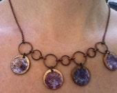 Multi-Penny Necklace Purple and White Flowers