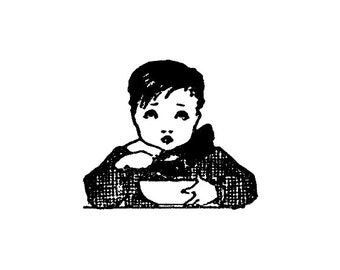 CLEARANCE Victorian Era Little boy eating a bowl of cereal Rubber Stamp Goth Gothic