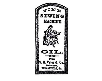 CLEARANCE Vintage sewing maching oil label Rubber Stamp