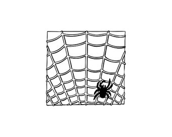 CLEARANCE spider in a web Rubber Stamp spooky