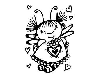 CLEARANCE Whimsical Love Fairy Rubber Stamp