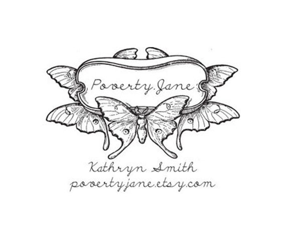 Custom Gorgeous Art Nouveau butterfly Rubber Stamp 100 year old image in script
