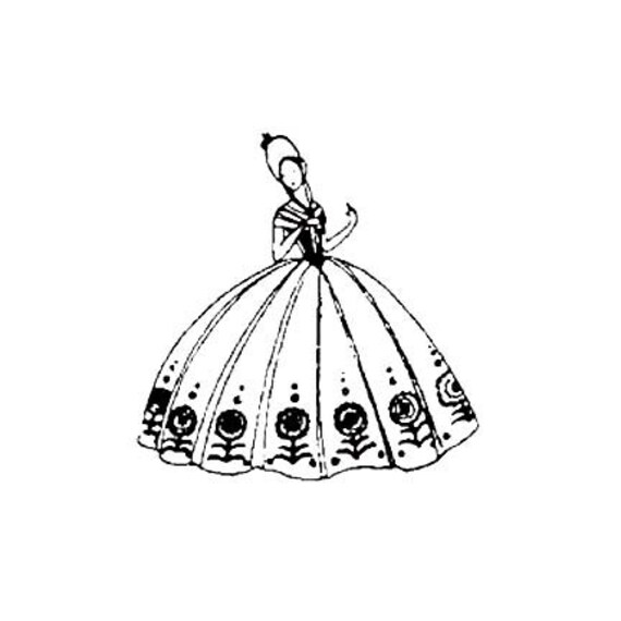CLEARANCE Southern Belle girl woman Rubber Stamp