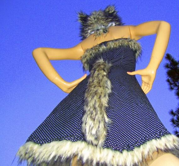 Fur Halloween Wolf Dress Hat Polka Dot Sexy Costume Geek Dress w Furry Black Gray Wolf Hat