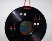 Vinyl Record Album EARRING HOLDER with MIRROR - Recycled