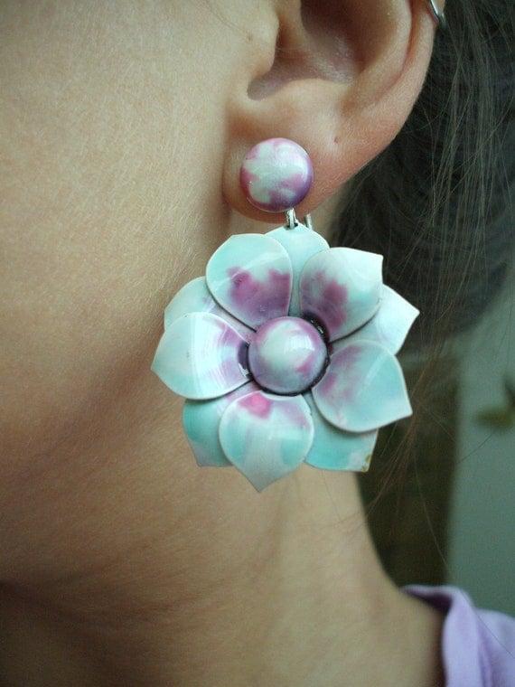 RESERVED for BOBI Large Vintage Enamel Flower Earrings