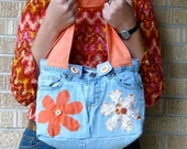 Upcycled Jeans Orange Autumn Flowers Recycled Butt Bag