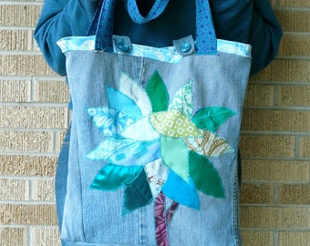 Upcycled Tote or Market Bag Turquoise Blue Tree