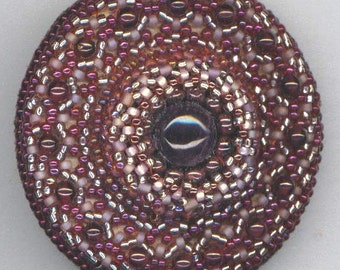 Amethyst Brooch . Beaded Brooch with Garnets . Mandala Effect . Birthday Brooch . One of a Kind OOAK -February Love by enchantedbeads on Ets