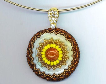 Mother of Pearl Beadwoven Pendant . Sunshine . Goldstone Cabochon . Yellow and Gold  - Sunflower Elegance by enchantedbeads on Etsy