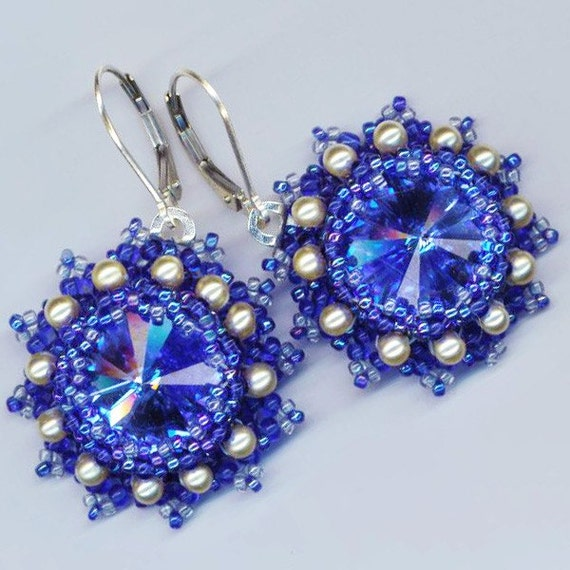 Beaded/ Beadwoven Earrings . Swarovski Crystals . Sapphire Rivoli Stones Moonlight . Statement - Royal Jewelry by enchantedbeads on Etsy