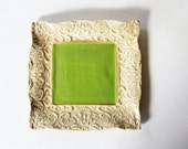 Square Pottery Dish Antique Vintage Lace Look