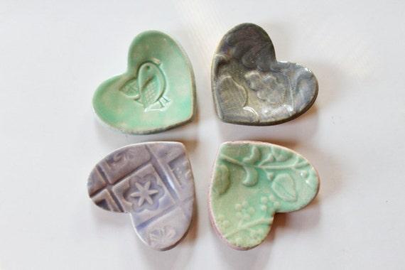Clay Hearts - Fun Set of 4 Decoration Hearts - ready to ship