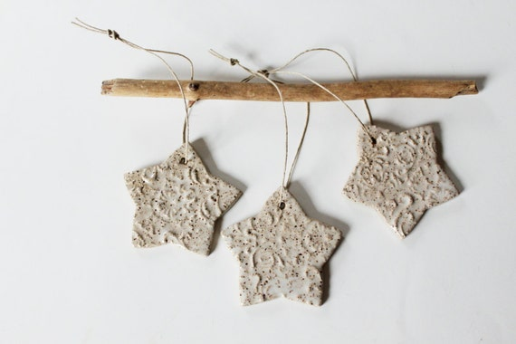 Set of 3 Speckled Star Ornaments