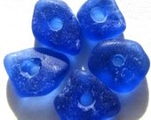 Genuine Cobalt Blue Sea Beach Glass - Drilled Rare Seaglass for Jewelry, Art and More, Bulk, Beads