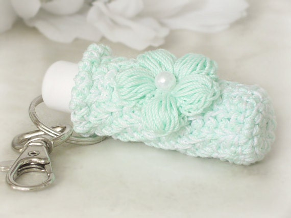 Plush Lip Balm Cozy, Keychain Key Holder, Pistachio Green Keychain with Crochet Mint Green Puff Flower