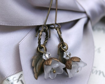 Floral earrings frosted Acrylic flowers with Antiqued Brass accents and earwires