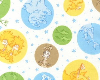 SALE Dr. Seuss, Celebrate Seuss 2, Characters in Circles Adventure Fabric - REMNANT Size 33 Inches by 44 Inches