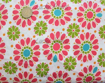 SALE/CLEARANCE Andover, Kathy Hall, Dilly Dally, Floral Orange Green Fabric - By the Yard