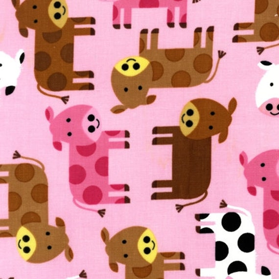 NEW Ann Kelle Urban Zoologie, Cows in Pink Fabric - By the Yard
