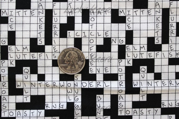 NEW Alexander Henry Snow Day Crossword Fabric on Black - By the Yard