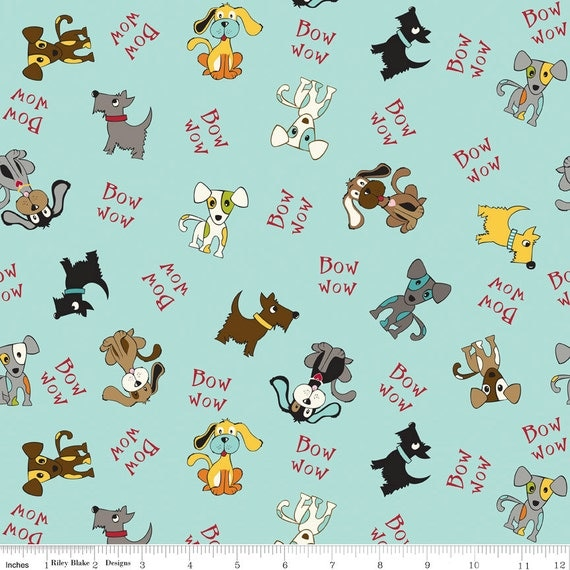 Riley Blake Designs, Bella Blvd, Puppy Park, Tossed Dogs Blue Fabric - By the Yard
