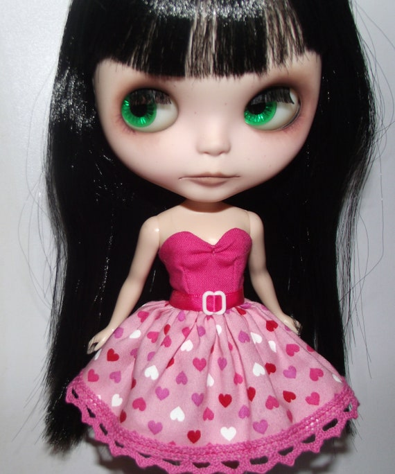 SALE Pink Love strapless dress for Blythe and Pullip