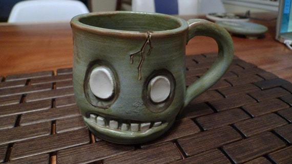 hand thrown, ceramic,  Zombie mug --RESERVED--