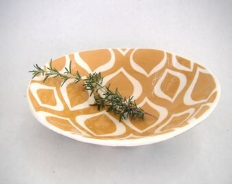 Turmeric gold  oval serving bowl   Made To Order