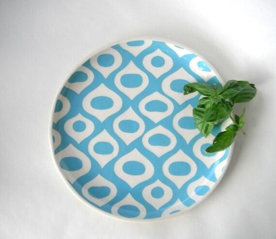 Ceramic Round serving platter or tray Mediterranean pattern