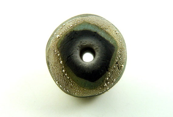 Fine Silver Gold Hue Raku Ceramic Bead Jewelry Supply     Handmade by MAKUstudio