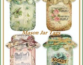 Altered Art Vintage Ephemera Mason Jar Tags Botanicals, Sheet Music, Typography U-PRINT  INSTANT DOWNLOAD