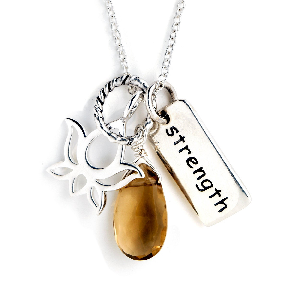 sterling silver charm necklace strength charm lotus flower
