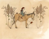 girl on horse with coffee and goose