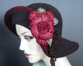 Brown Croshet Cotton Flapper Style Cloche Hat On Sale