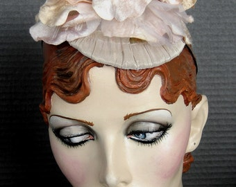Velvet Peach Flower Fascinator Headpiece On Sale