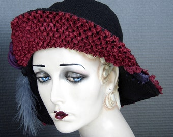 Black Crochet Cotton Flapper Hat On Sale