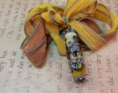 Silk Ribbon and Lampwork Glass Floral Pendant with Sterling Silver - Dusk - M37