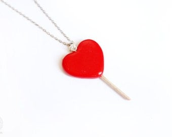Candy Heart Necklace - Cute sweets polymer clay  miniature, gift for her
