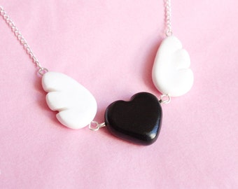 Flying Heart Necklace - black heart and wings - handmade polymer clay jewelry, gift for her