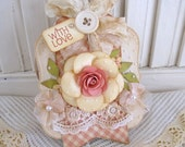 Vintage Lace Handmade Shabby Pink Rose Flower With Love Embellishment Tag